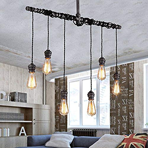 XHJJDJ Industrial Suspended Ceiling Pendant 6 Lamp Black Metal Water Pipe Vintage Light Fitting [Energy Class A+]