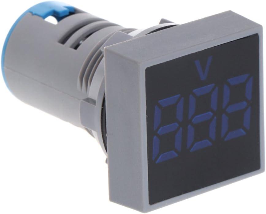 JunYe 22mm CA 12-500V Voltm/ètre Panneau Carr/é LED Num/érique Tension Compteur Indicateur Lumi/ère Vert