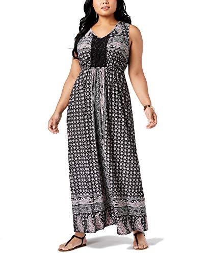 (Style & Co. Plus Size Printed Crochet-Trim Empire-Waist Maxi Dress (2X, Paisley Fields))