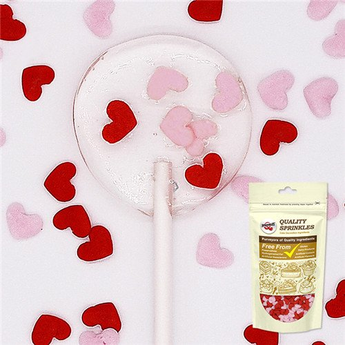 Natural Red/ Pink Mixed Gluten GMO Nuts Dairy Soy Free Confetti Valentine Hearts Bulk Pack. by Quality Sprinkles
