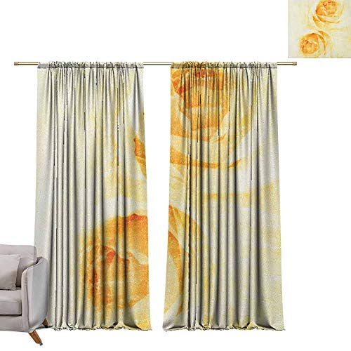 (berrly Energy Saving Curtains Yellow,Rose Flower in Watercolor Effect Romantic Girly Classic Style Design Print, Yellow and Beige W96 x L96 Thermal Insulated Draperies)