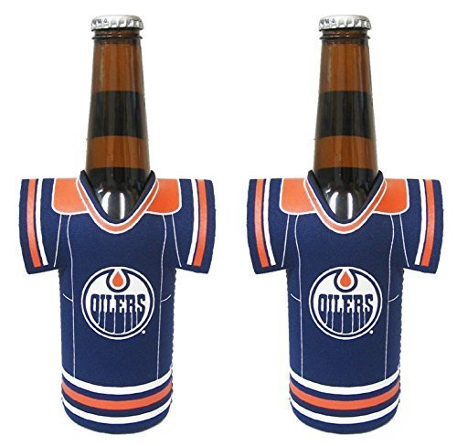 fan products of NHL Hockey 2014 Team Color Logo Bottle Jersey Holder Koozie Cooler 2-Pack (Edmonton Oilers)