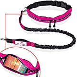 Paw Lifestyles Retractable Hands Free Dog Leash W/Smartphone Pouch – Dual Handle Bungee Waist Leash for Up to 150 lbs Large Dogs (Black and Magenta w/Smartphone Pouch)