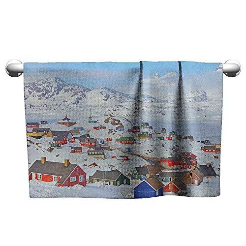 xixiBO Striped Towel W10 x L10 European,Snowy Greenland North Scandinavian Peaceful Frozen Winter Nordic Idyllic Image, Multicolor Soft and Durable -
