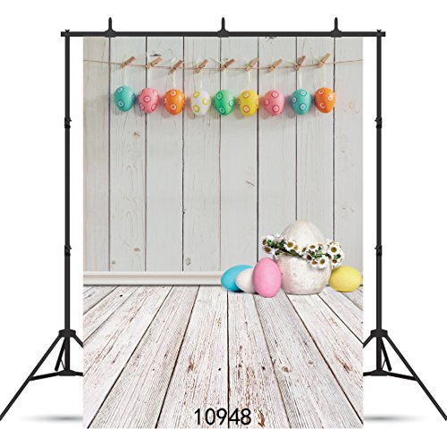 SJOLOON 6X9ft Easter Colorful Eggs Photography Backdrops Wooden Panel Floor Children Festival Photo Backgrounds for Studio Props 10948 for $<!--$29.99-->