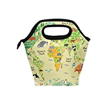 Saobao - Bolsa de almuerzo con diseño de mapa del mundo para niños y niñas, bolsa de almuerzo, contenedor de alimentos para gourmet, bolsa térmica para la escuela, trabajo, oficina, viajes, al aire última intervensión