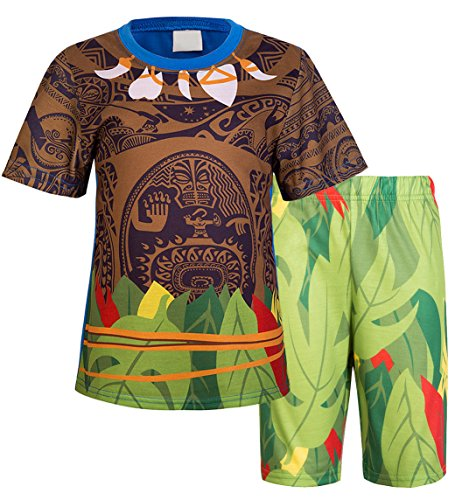 AmzBarley Maui Costume for Boys Two Pieces Tees and Shorts Moana Party Dress up Size 6 Blue -