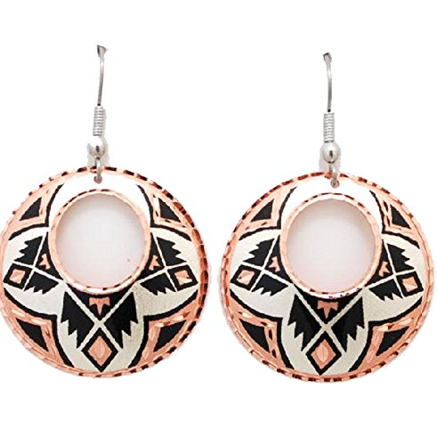 Copper Earrings AZTEC PATTERN Southwest Design with Dangles Native American