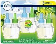 Febreze Odor-Eliminating Plug in Air Freshener Scented Oil Refill, Gain Original Scent, 3 Count