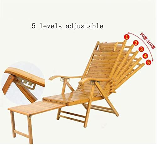 Rocking Chairs MEIDUO 5 Levels Adjustable Chaise Bamboo Lounge Chair Outdoor Folding Lounge Chair Chaise Lounge Chair Recliner Patio Pool Sun Footstool Extension Color Load-Bearing 150kg