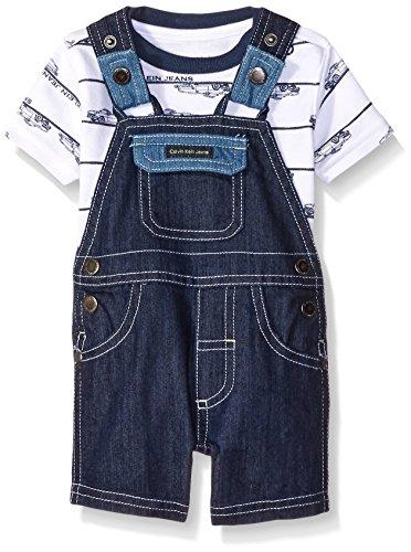 Calvin Klein Baby Boys' Printed Interlock Top and Denim Shortall