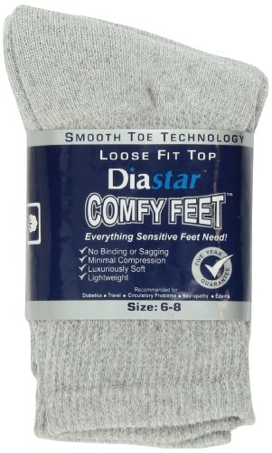 Diastar Comfy Feet Loose Fit Top Socks, Grey, 3 pack