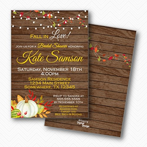 Invitation Leaves Fall Wedding (White Pumpkin Fall Bridal Shower Invitations | Envelopes Included)