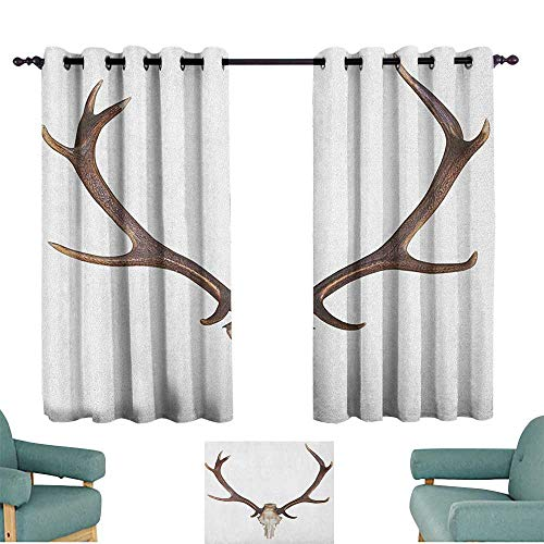 Sanring Antlers,Kitchen Curtains Antlers of a Huge Stag Elk Skeleton Big Bone Horn Hunter Style Artwork Print 42