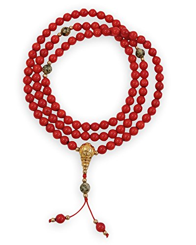 Handmade Tibetan Mala Coral Mala 108 Beads with Dalmatian Jasper Spacers for Meditation