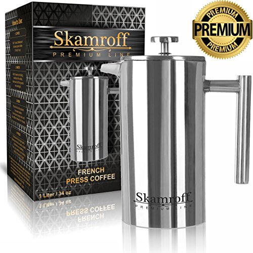 Skamroff Premium Stainless Steel French Coffee Press - Double Wall, Keep Warm and Safe for Making Perfect Coffee or Tea - Size: 1L, 34oz, 8 Cups