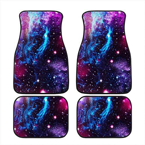 JEOCODY Galaxy Stars All-Weather Anti-Slip Floor Mats Rubber Car Floor Mats Heavy Dust Durable Foot Carpets Cushion Cars Accessories – Pack of 4 Piece