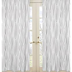 Grey And White Wood Grain Print Window Treatment Panels For Woodland  Animals Collection   Set Of