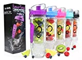 Live Infinitely 32 oz. Infuser Water Bottles - Featuring First Ever Gel Freezer Ball Infusion Rod, Flip Top Lid, Larger Dual Hand Grips & Recipe Ebook Gift (Purple)
