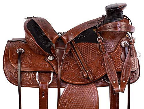 """- AceRugs A Fork Heavy Duty Wade Tree Ranch Roping Western Leather Comfy SEAT Horse Saddle TACK Set 15"""" 16"""" (15)"""