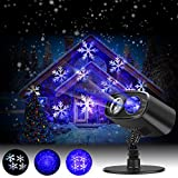 LED Projector Lights Landscape Spotlight Waterproof Outdoor and Indoor Party Lights for Valentine's Day Wedding Christmas Theme Party Landscape and Garden Home Decoration (Blue+White)