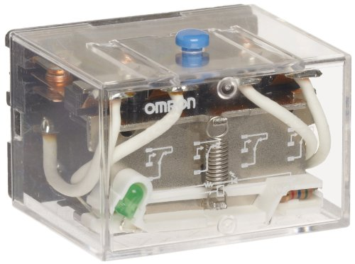 Omron LY4I4N AC24 General Purpose Relay, LED Indicator and Push-To-Test Button Type, Plug-In/Solder Terminal, Standard Bracket Moutning, Singe Contact, Quadruple Pole Double Pole Contacts, 93.6 mA at 50 Hz and 80 mA at 60 Hz Rated Load Current, 24 VAC Rated Load Voltage