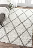 Cozy Soft and Plush Diamond Trellis Shag Area Rug