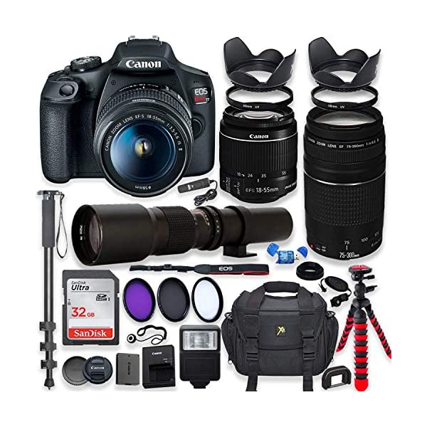 51SxZbzjHnL. SS600  - Canon EOS Rebel T7 DSLR Camera with 18-55mm is II Lens Bundle + Canon EF 75-300mm f/4-5.6 III Lens and 500mm Preset Lens…