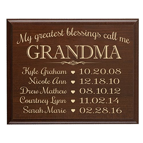 Personalized Gifts for Grandma with Family Established Year plaque with children's names and date dates to remember My Greatest blessings call me Grandma by LifeSong Milestones (9x12, Cherry) - Established Date Plaque