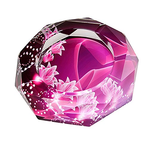 Pink Small Ashtray - Gracave Crystal Cigarette Ashtray Home Office Tabletop Beautiful Decoration (Pink)