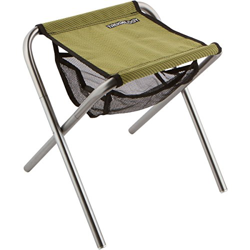 Trekology Portable Folding Camping Stools, Ultralight Compact Camp Footrest Stool, Mesh bag for Storage, Great for a Quick Rest Outdoors and for Chores Close to the Ground (Green, Large)