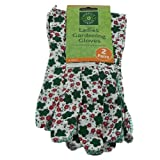 BRAND NEW 2 PAIRS OF LADIES GARDENING FLOWER PATTERN GLOVES - FLORAL COTTON - PVC EXTRA GRIP POLKA DOT PATTERN - LIGHTWEIGHT - EXCELLENT COMFORT AND FIT - GREAT FOR GARDENING, AGRICULTURE, CONSTRUCTION, GENERAL MAINTENANCE