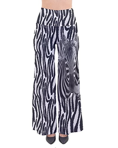 PattyCandy Womens Comfy Stretchy Zebra Print Cotton Palazzo Pants - 3XLTall -