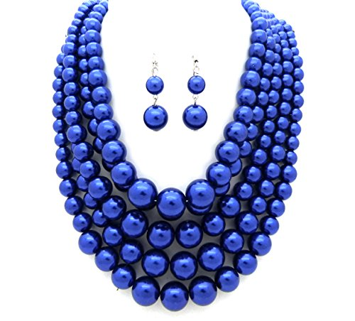 Women's Five Multi-Strand Simulated Pearl Statement Necklace and Earrings Set (Royal Blue) - Blue Pearl Costume Jewelry