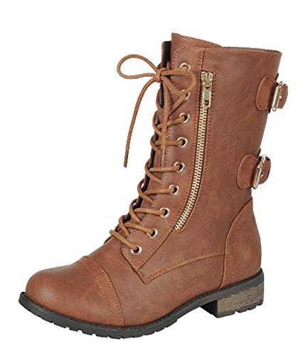 Forever Women's Mango-71 Faux Leather Military Style Ankle B