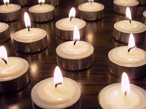 Set Of 50 Smokeless Tea Light Candles Genuine Vegetable Palm Oil Wax Unscented White - Wedding Favor Decorations Centerpieces Restaurant Table - Bulk