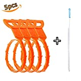 Hair Drain Clog Remover Drain Snake Auger Type Clean Tool Bathub Plumbing Cleaning Hook,Drain Cleaning Brush Included