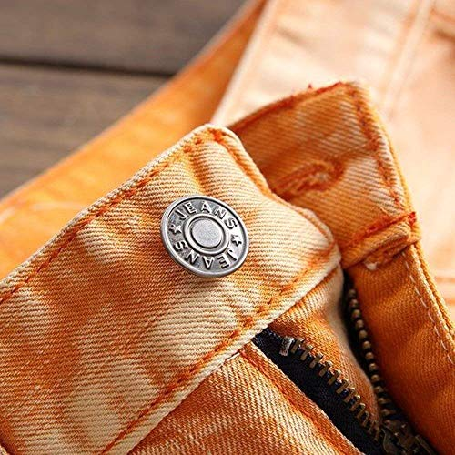 Uomo Da Pantaloni Chern Denim Slim Classiche Rotti Fit Fori Ragazzi Con Stretch Di Retrò Arancia Strappati Jeans Cowboy FqqU5wE