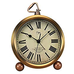 5.5 Roman Numbers Desk Clocks Gold Mantel Decorative,Silent Vintage Quartz Analog Clock Non Ticking,Large Numerals Battery Operated