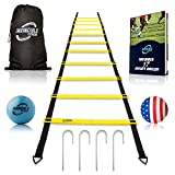 Invincible Fitness Agility Ladder Training Equipment, Improve Coordination, Speed, Develop Explosive Power, Strength and Better Footwork, Includes 4 Hooks for Outdoor Workout