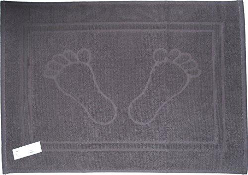 Duschvorleger, Badematte, Frottee, Frottier, 50 x 70 cm, uni einfarbig, Badvorleger, 100% Baumwolle (grau-Füße)