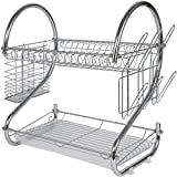 LIWEIKE Modern Kitchen 2-Tier Dish Drying Rack with Drainboard,Stainless Steel Kitchen Storage - Quick Dry with Drip Tray (Silver)
