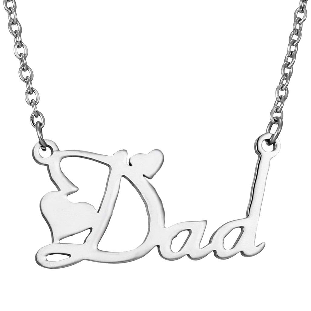 CliPons Women Girls Stainless Steel Enhancer Necklace Alphabet Dad Pendant Inspirational Charm Necklaces by CliPons