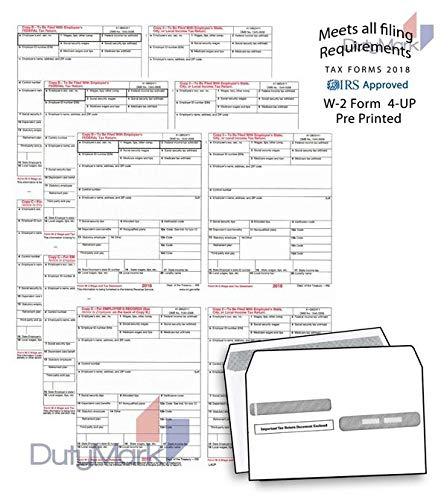 - 2018 Pre-Printed W-2 4-Up Laser Tax Forms Set with Double-Window Envelopes, for 25 Employees