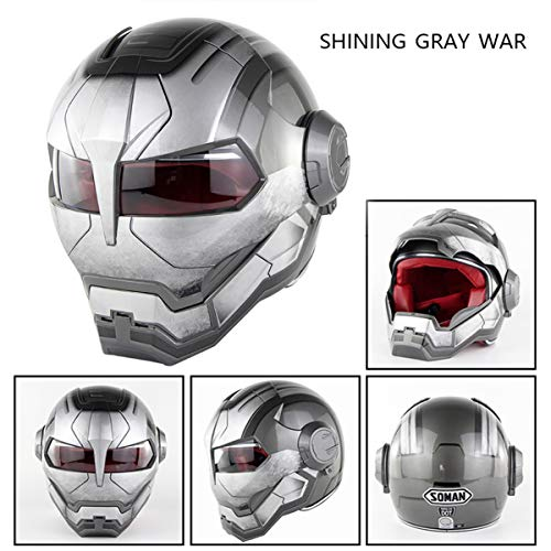- Personality Flip Front Motorcycle Helmet - Iron Man Off-Road Competition Helmet - Retro Style Transformers Full Face Cycling Bike Helmet for Road Race Adult YouthShining Gray war-XL