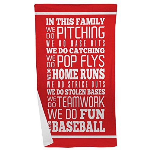(ChalkTalkSPORTS Baseball Beach Towel | We Do Baseball | Microfiber Towel | Red)