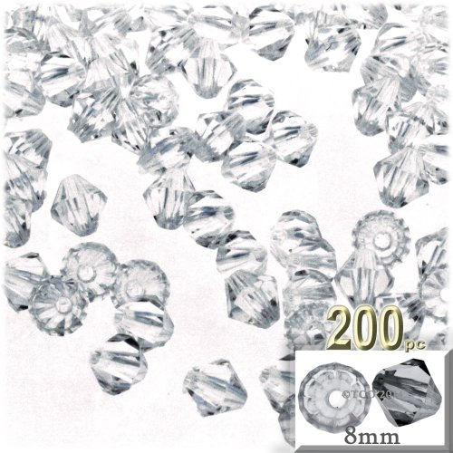 The Crafts Outlet, 200-pc Acrylic Bicone Beads, Faceted, 8mm, Clear - Clear Bicone