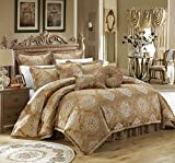 Chic Home 9 Piece Aubrey Decorator Upholstery Comforter Set and Pillows Ensemble King Gold