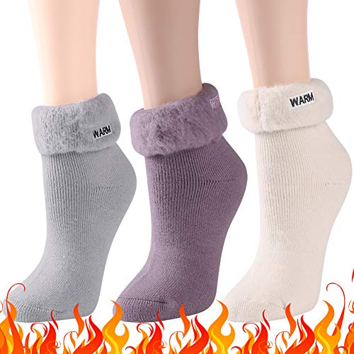 (Winter Thermal Socks, Three street Heated Insulated Fashion Vintage Design Mid Calf Cozy Warm Thermal Socks for Women Girl Daily Working Hiking Skiing Casual Presents Socks 3 Pairs grey beige purple)