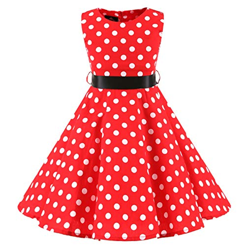 Girls Red 50s Vintage Polka Dot Dress Summer Swing Casual Clothes 5-6 Years(3015-120)